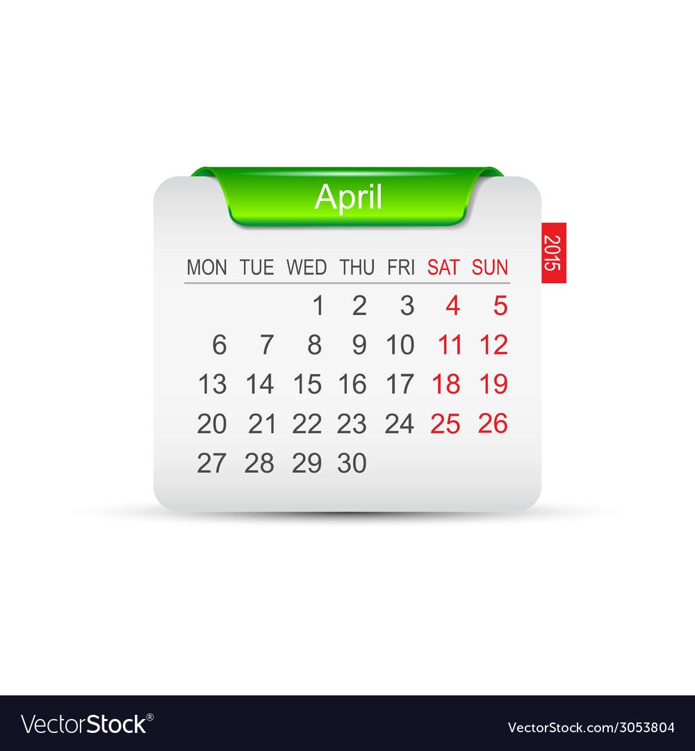 Calendar april 2015 vector   Price: 1 Credit (USD $1)