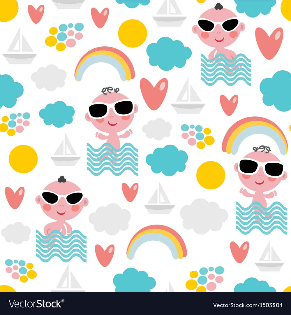 Cute baby boy on vacation seamless pattern vector | Price: 1 Credit (USD $1)