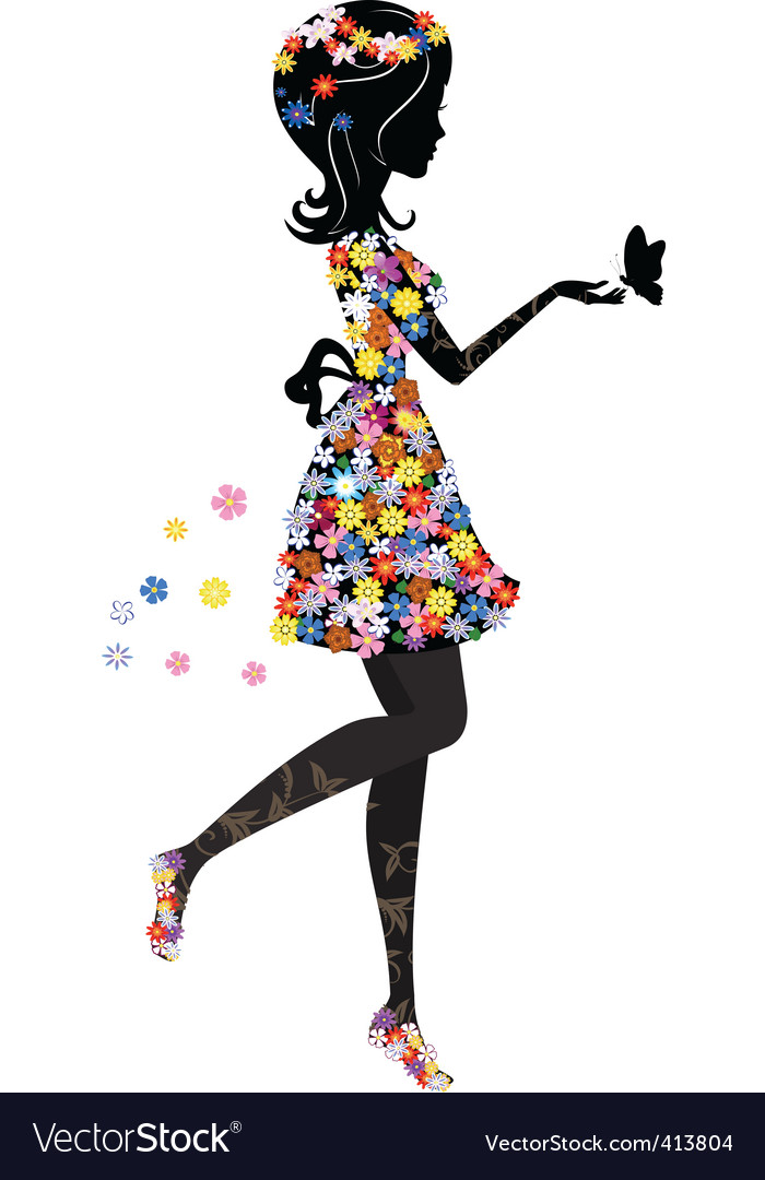 Flower girl vector | Price: 1 Credit (USD $1)