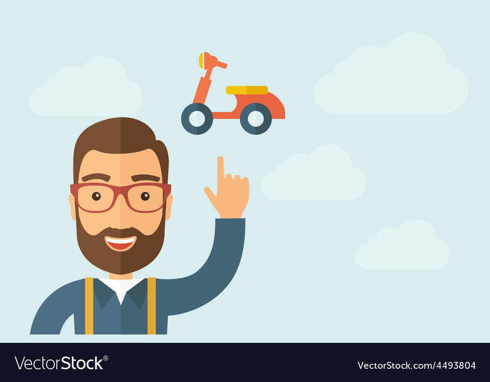 Man pointing the motorbike icon vector | Price: 1 Credit (USD $1)