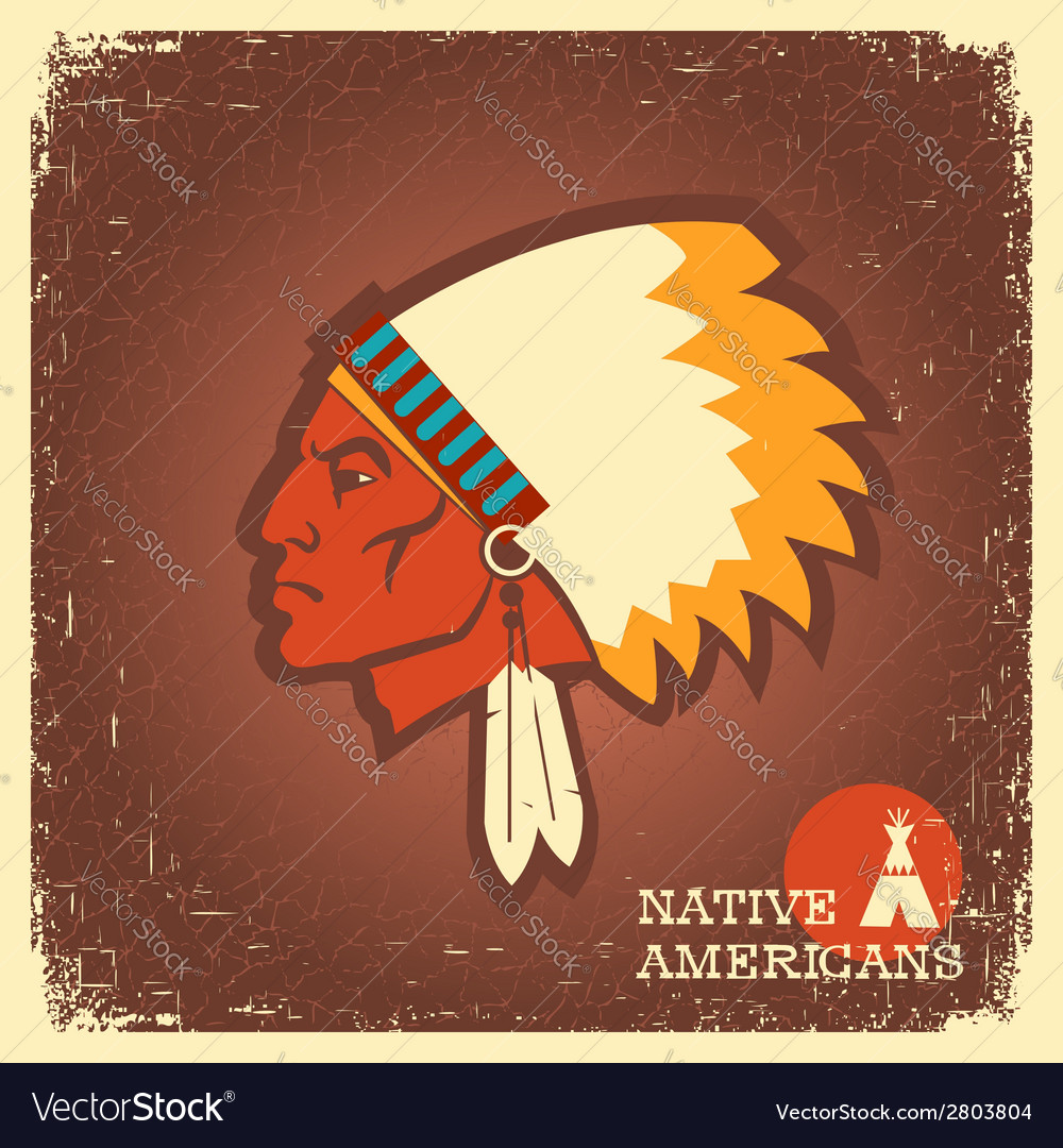 Native american man portrait vector | Price: 1 Credit (USD $1)