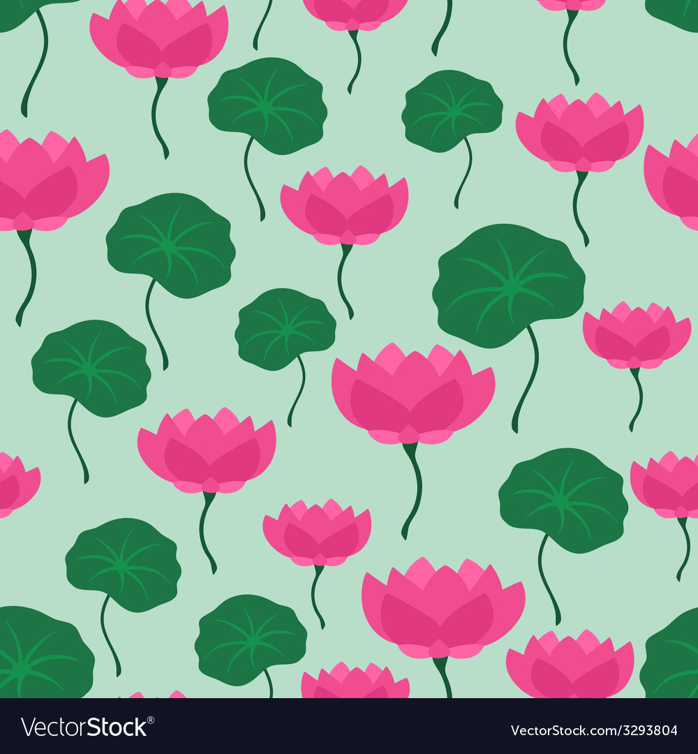 Seamless tropical pattern with stylized lotus vector | Price: 1 Credit (USD $1)