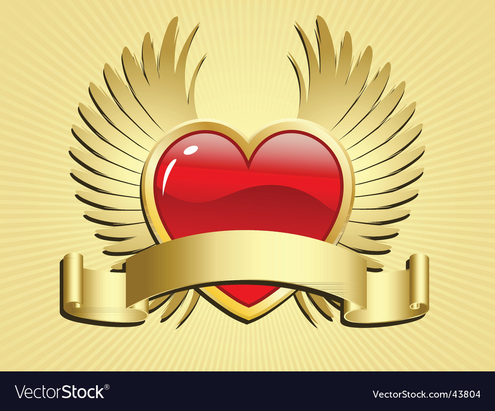 Winged heart with scroll vector | Price: 1 Credit (USD $1)