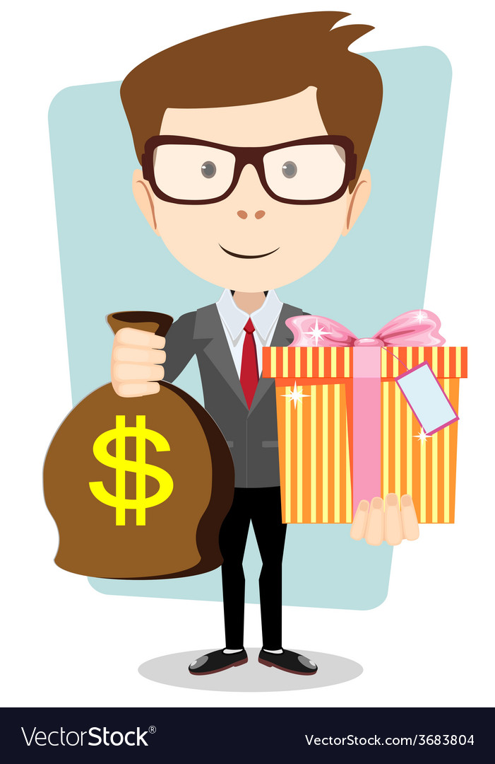 The young man gives a bag with dollars and gift vector | Price: 1 Credit (USD $1)