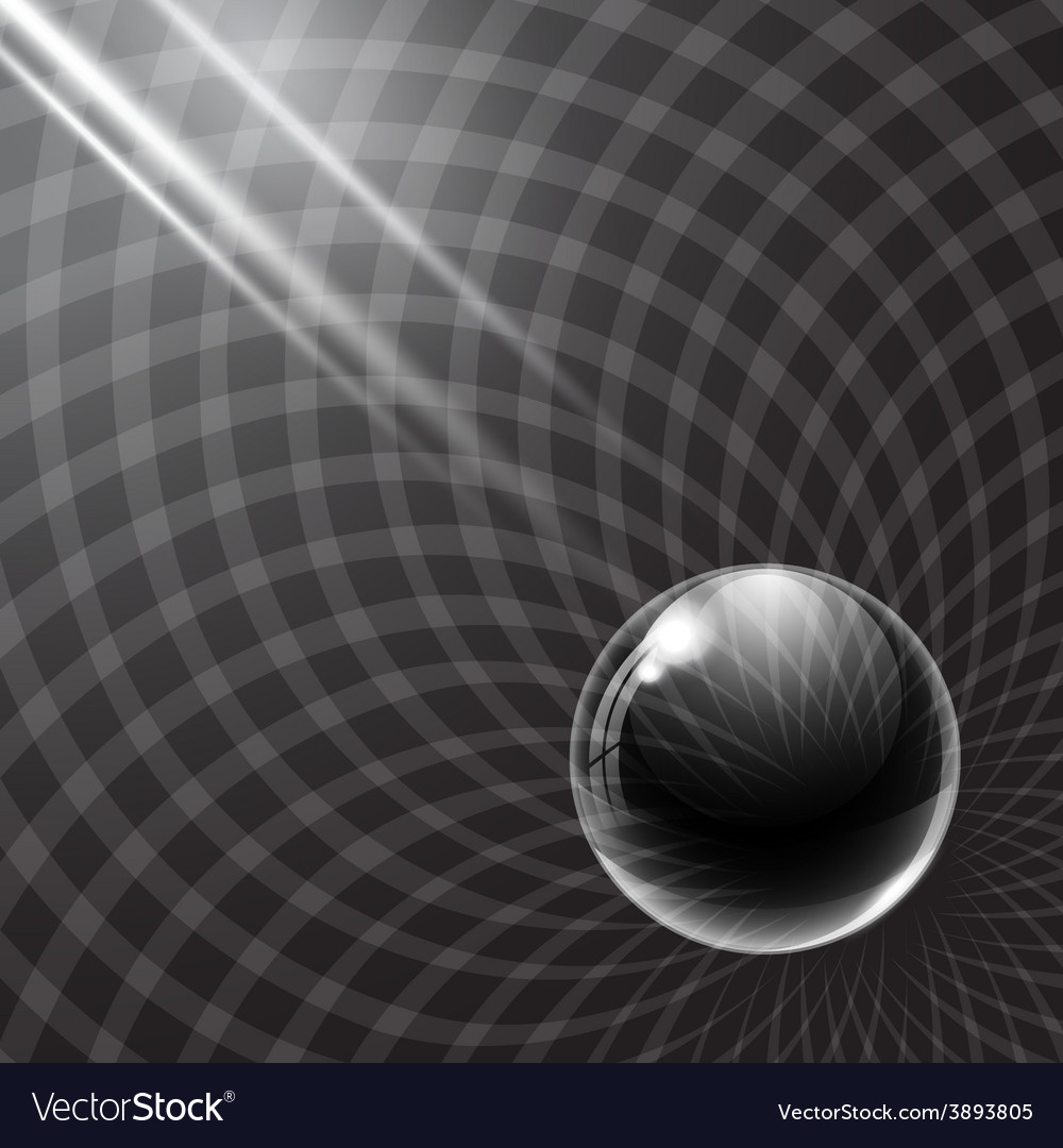 Black glass ball and rays of light vector | Price: 1 Credit (USD $1)