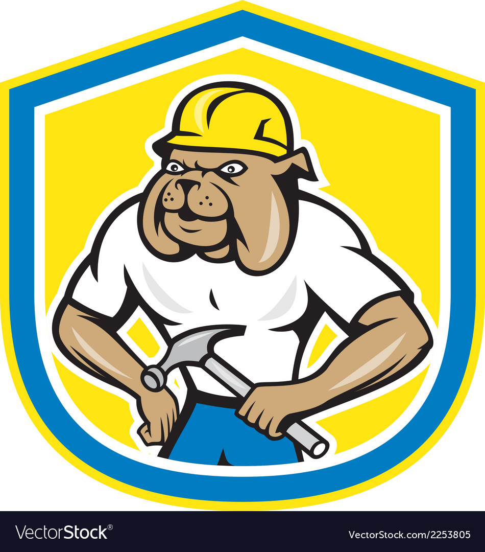 Bulldog construction worker holding hammer cartoon vector | Price: 1 Credit (USD $1)