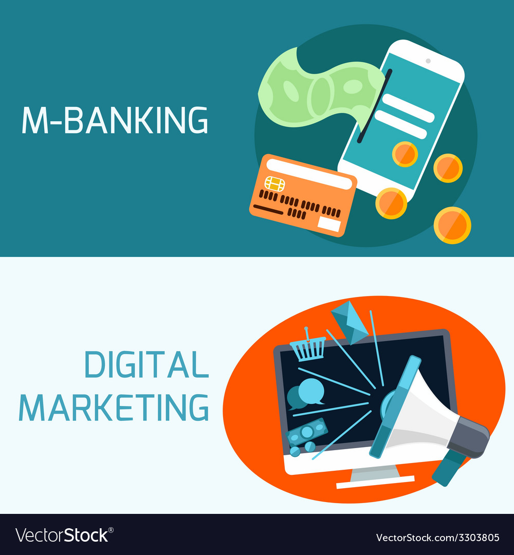 Concept of mobile banking digital marketing vector | Price: 1 Credit (USD $1)
