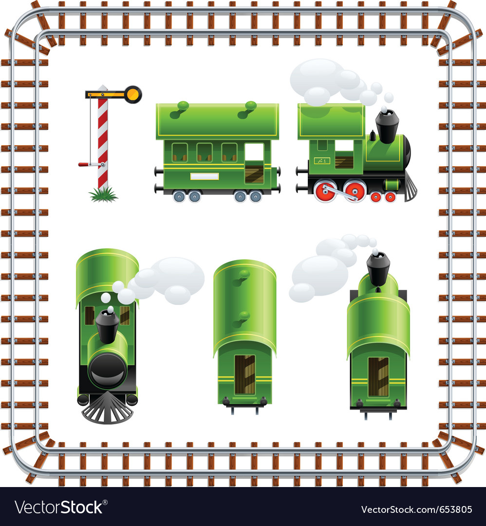 Green vintage locomotive with vector | Price: 3 Credit (USD $3)
