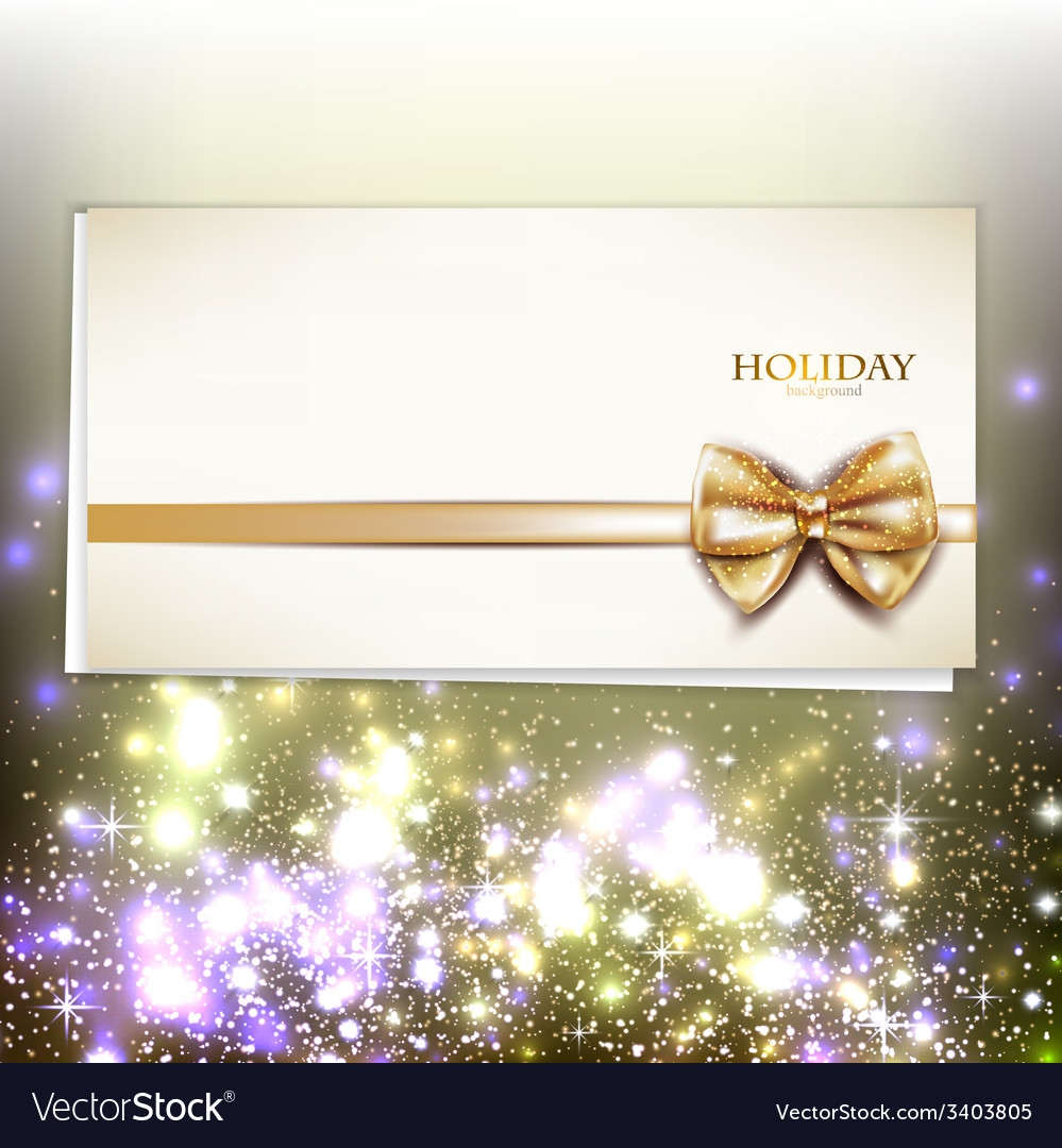 Greeting card with white bow and copy space vector | Price: 3 Credit (USD $3)