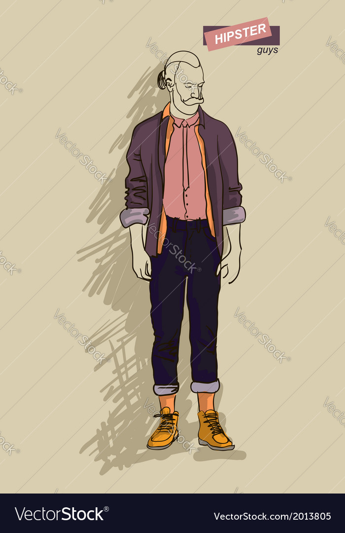 Hipster man in fashion vector | Price: 1 Credit (USD $1)