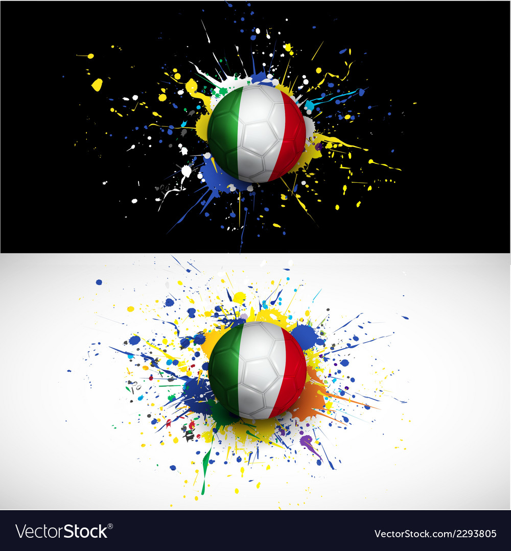 Italy flag with soccer ball dash on colorful vector | Price: 1 Credit (USD $1)