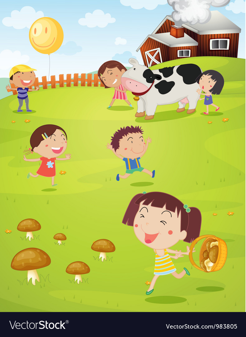 Kids playing on farm vector | Price: 3 Credit (USD $3)