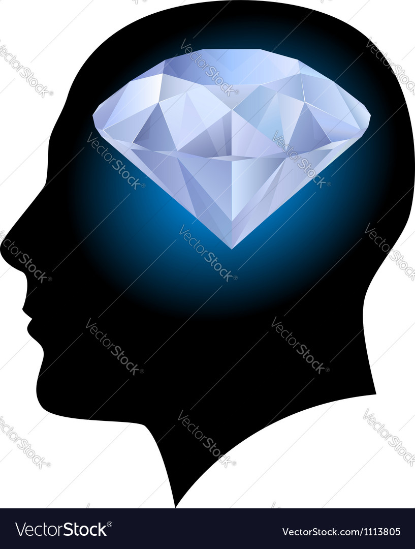 Man head and diamond vector | Price: 1 Credit (USD $1)