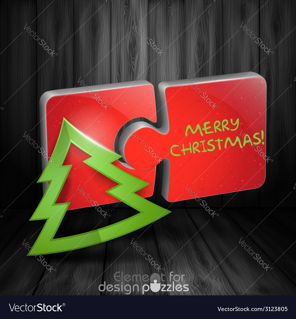 Modern puzzle template with paper christmas tree vector | Price: 1 Credit (USD $1)