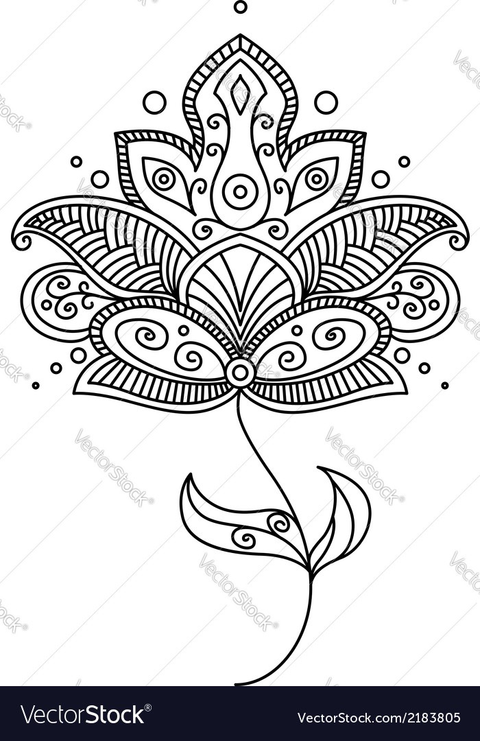 Persian paisley flower design vector | Price: 1 Credit (USD $1)