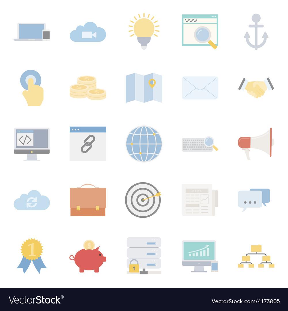 Seo and e-marketing flat icon set vector | Price: 1 Credit (USD $1)