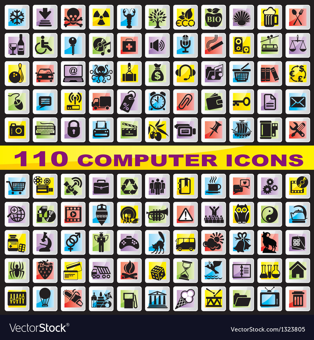Set computer icons vector | Price: 1 Credit (USD $1)