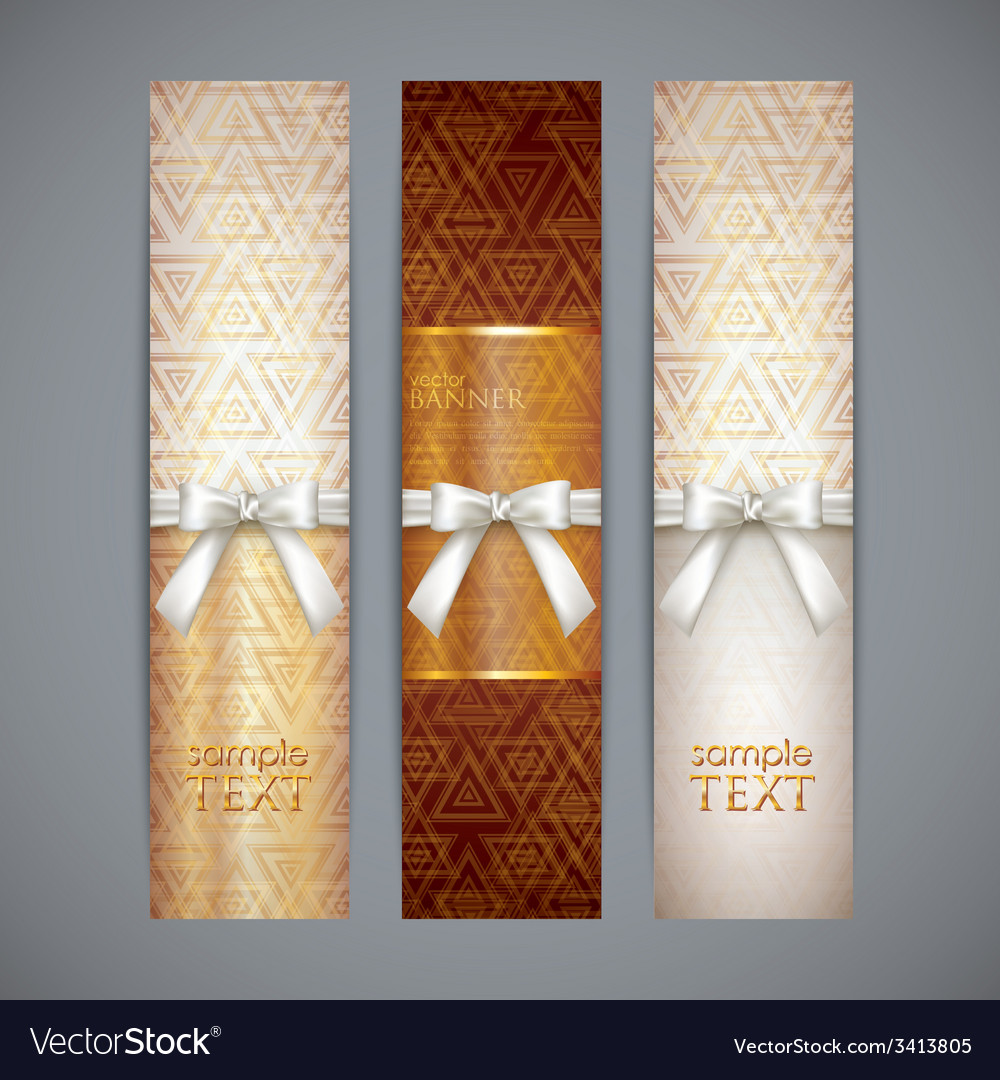 Set of golden banners with white bows and ribbons vector | Price: 1 Credit (USD $1)