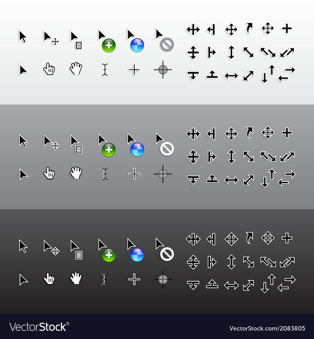 Set of isolated mouse pointer cursors vector | Price: 1 Credit (USD $1)