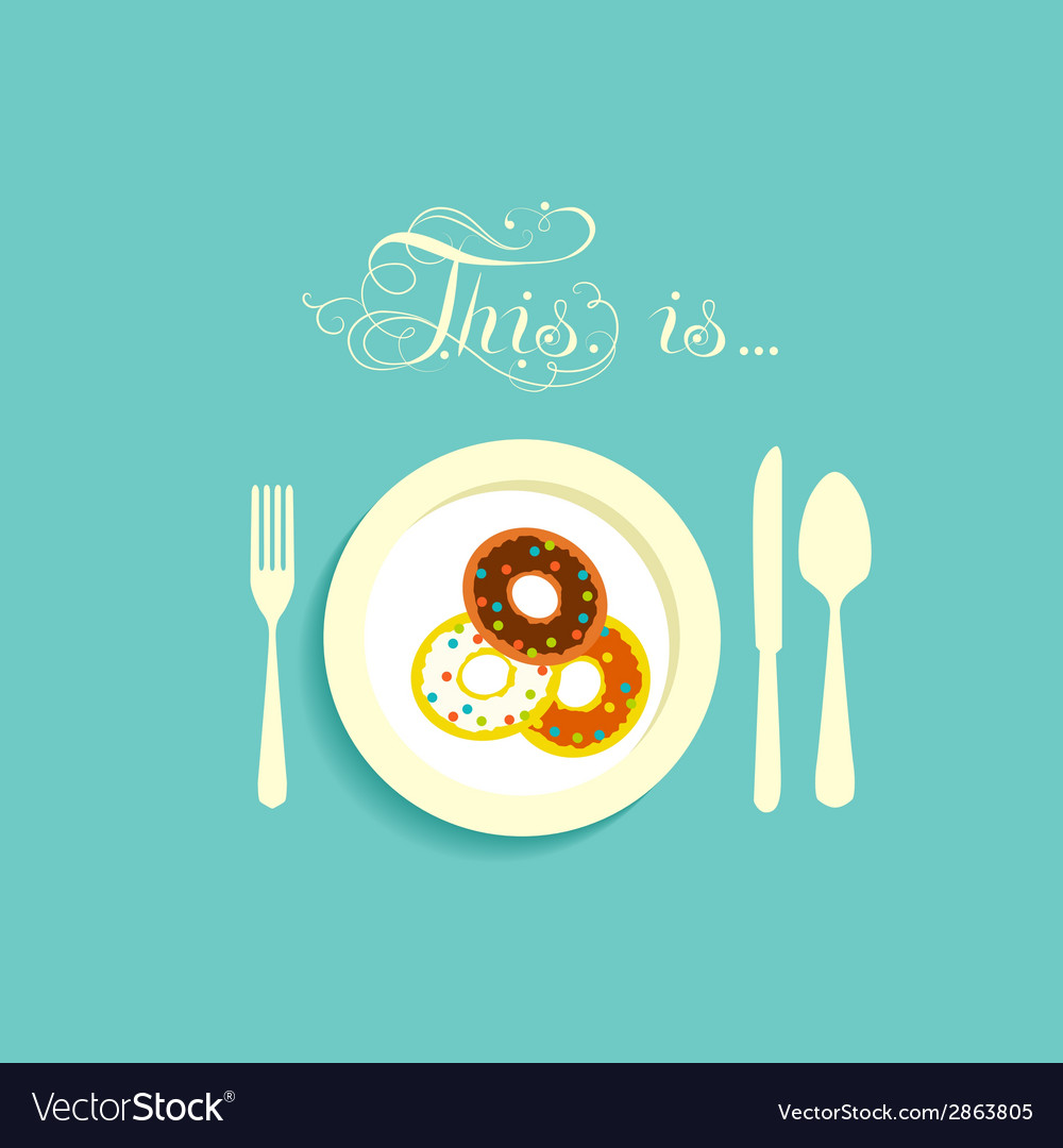 Three donut on a plate vector | Price: 1 Credit (USD $1)
