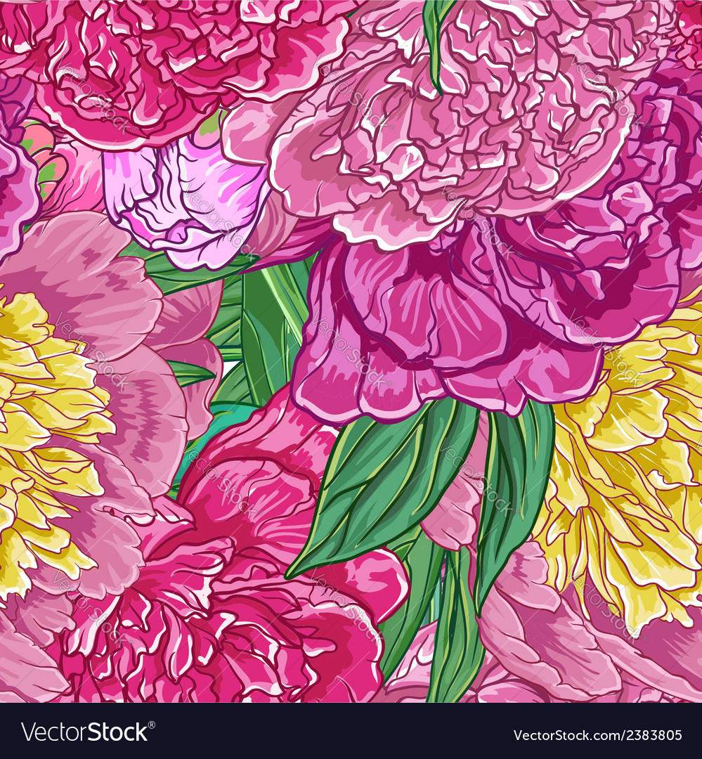 Vintage floral seamless pattern with peonies vector | Price: 1 Credit (USD $1)