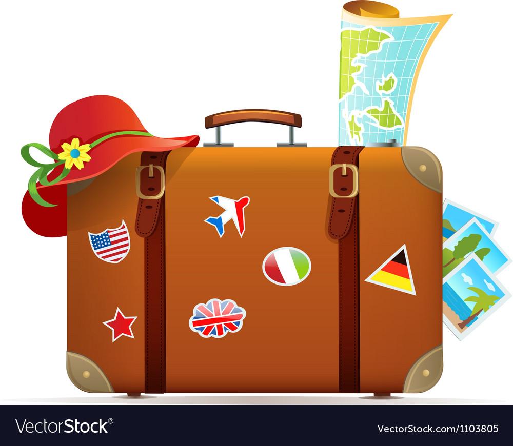 Vintage travel suitcase vector | Price: 3 Credit (USD $3)