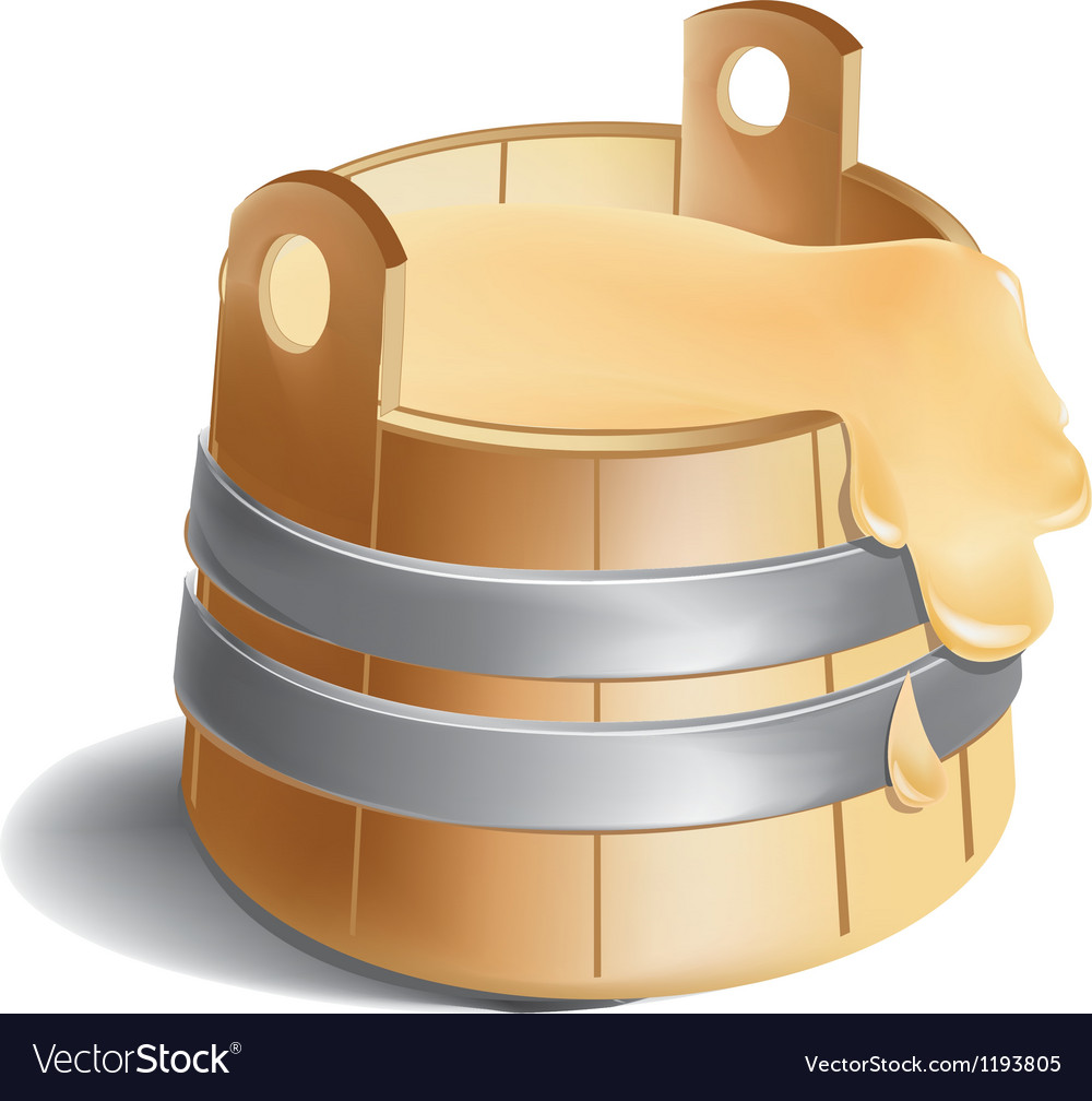 Wooden barrel of honey with metal silver clamps vector | Price: 1 Credit (USD $1)