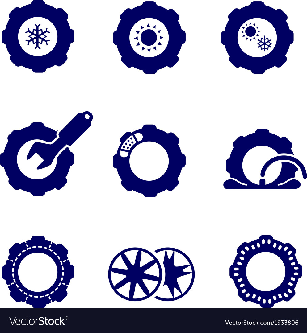 Car parts such as tires and wheels icons set vector | Price: 1 Credit (USD $1)