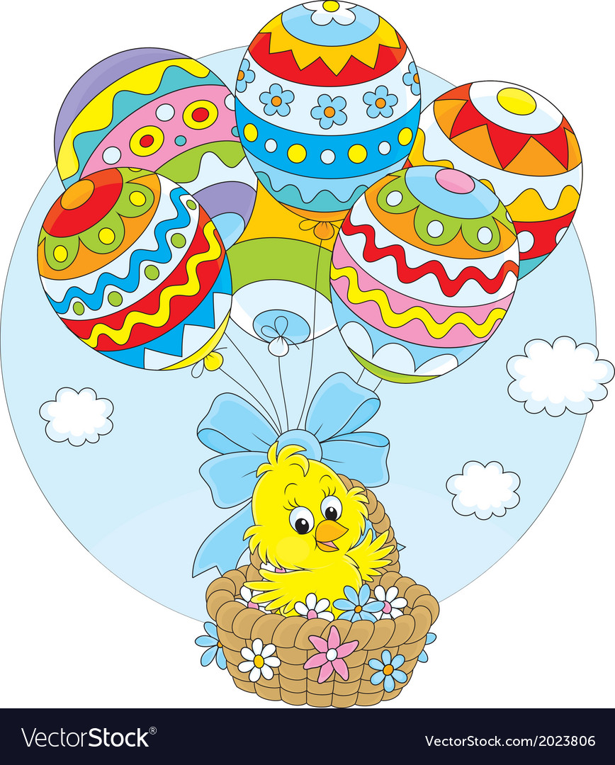 Easter chick flies with balloons vector | Price: 1 Credit (USD $1)