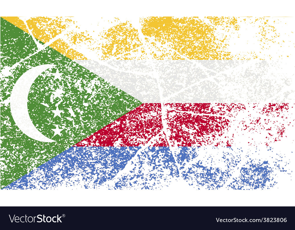 Flag of comoros with old texture vector | Price: 1 Credit (USD $1)