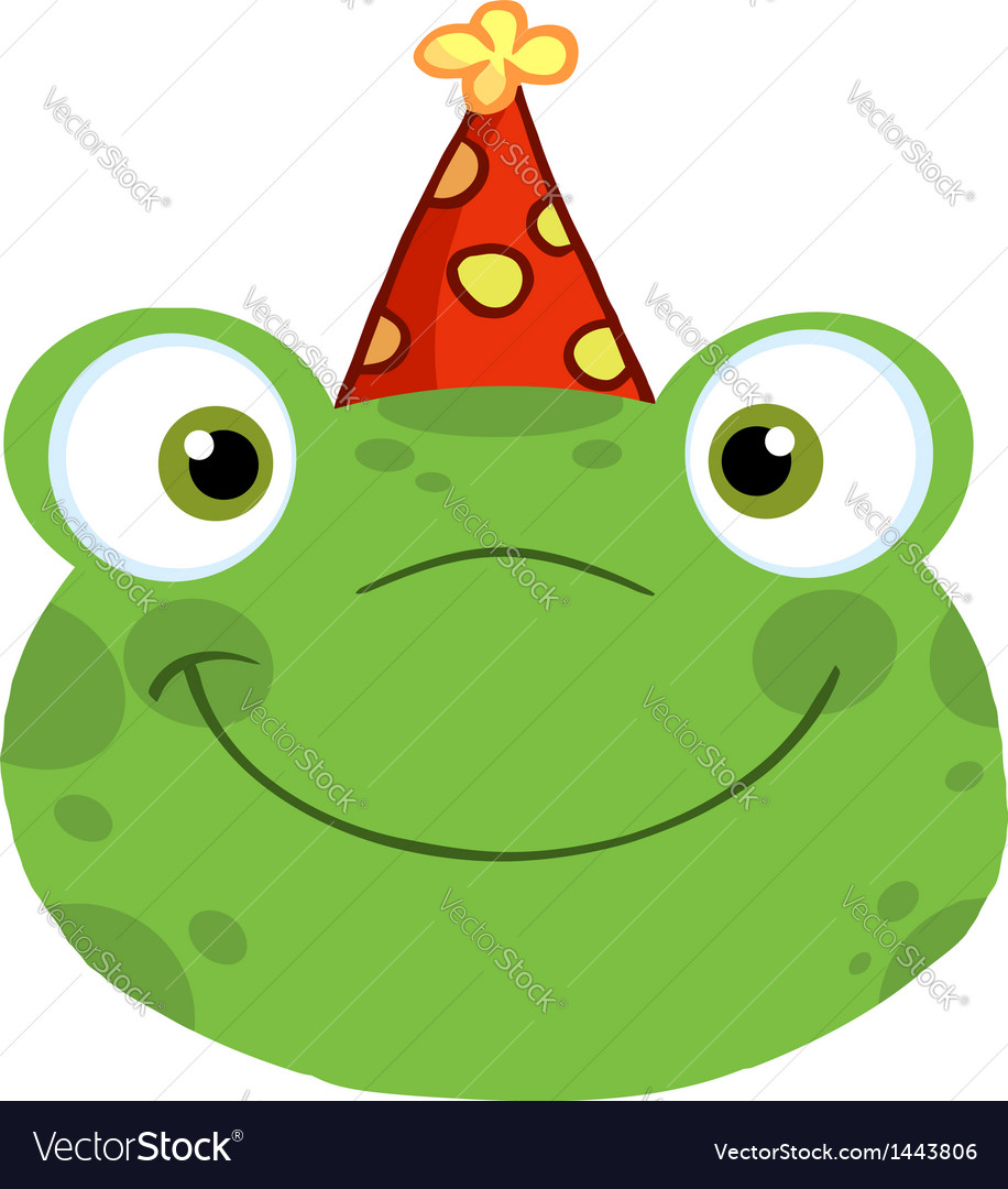Frog smiling head with birthday hat vector | Price: 1 Credit (USD $1)