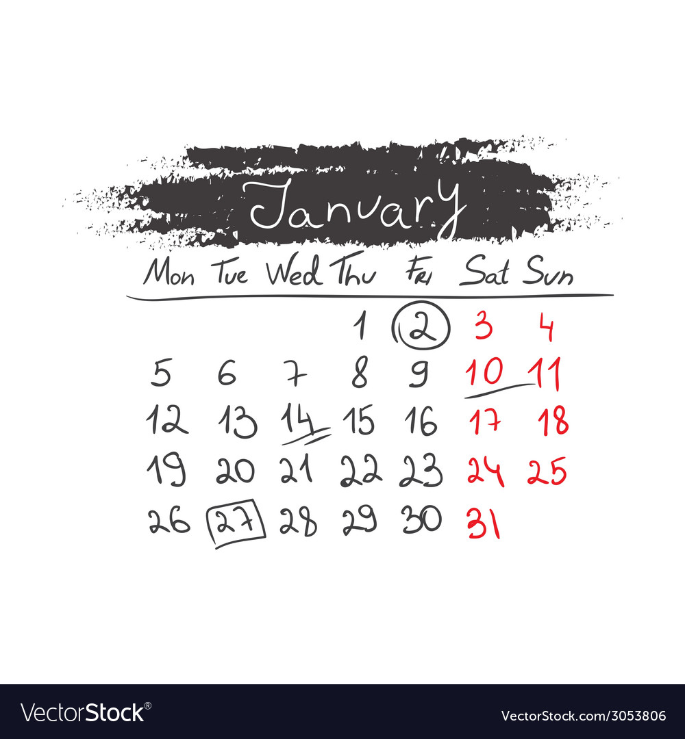 Handdrawn calendar january 2015 vector | Price: 1 Credit (USD $1)
