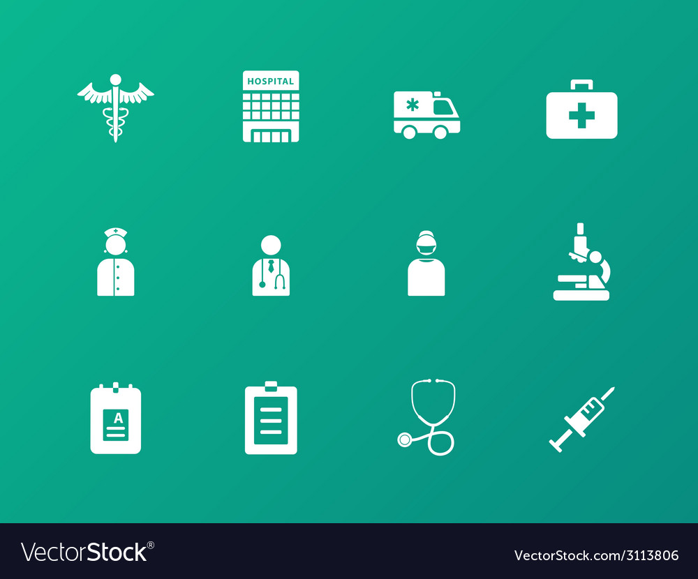 Hospital icons on green background vector | Price: 1 Credit (USD $1)