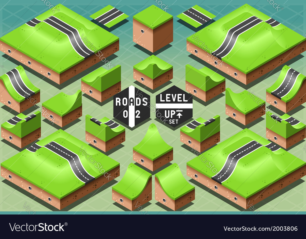 Isometric roads on two levels terrain vector | Price: 1 Credit (USD $1)