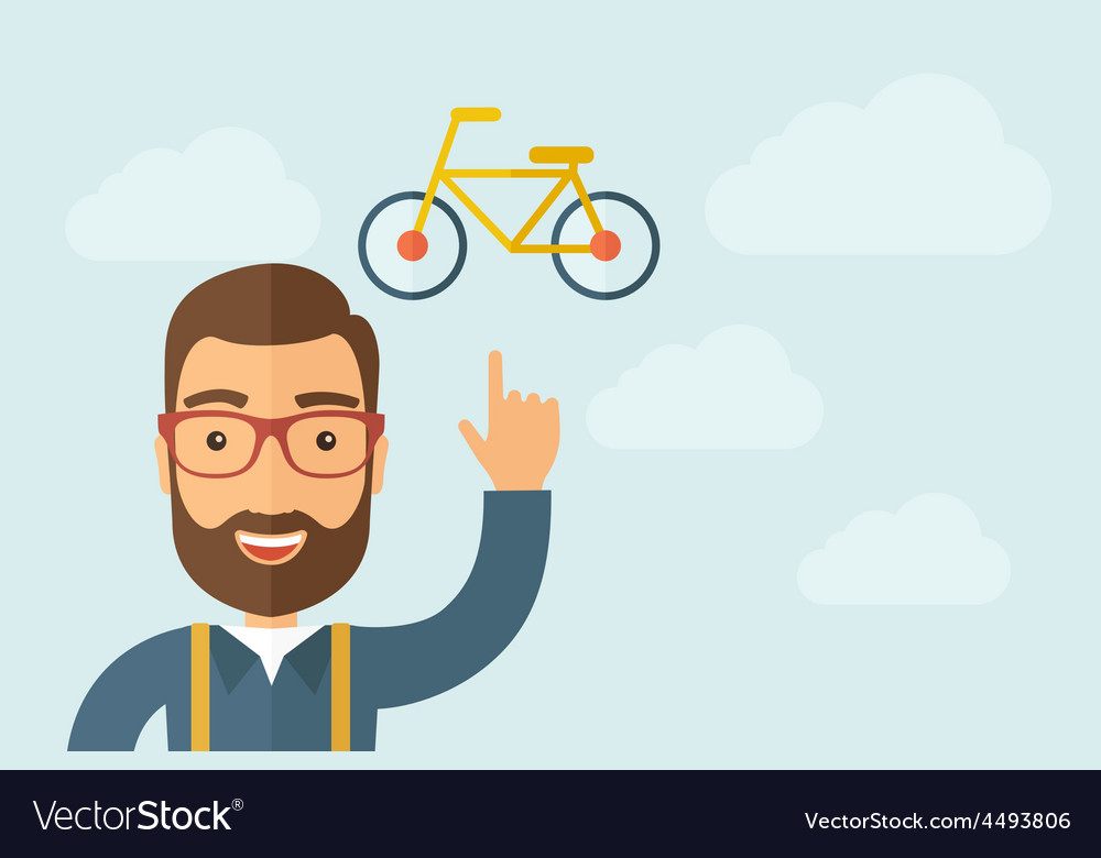 Man pointing the bicycle icon vector | Price: 1 Credit (USD $1)