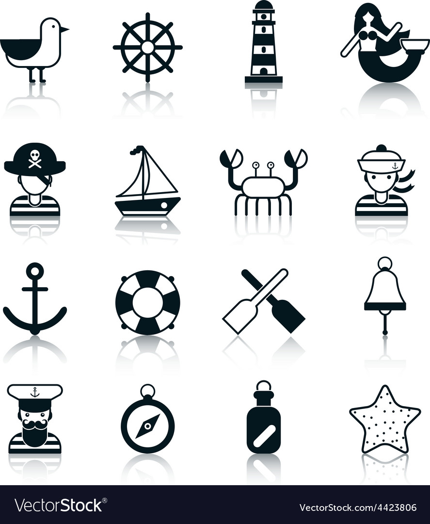 Nautical icons black vector | Price: 1 Credit (USD $1)