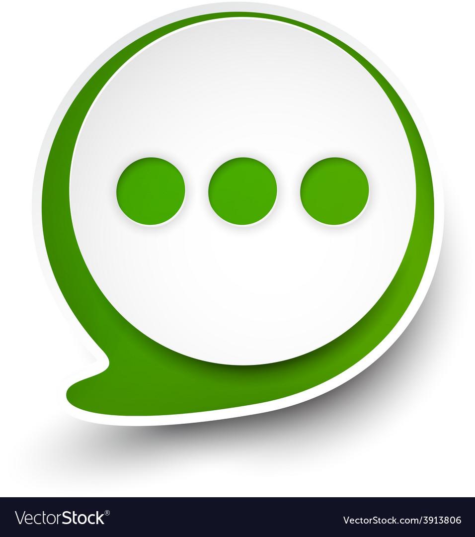 Paper white-green round speech bubble vector   Price: 1 Credit (USD $1)