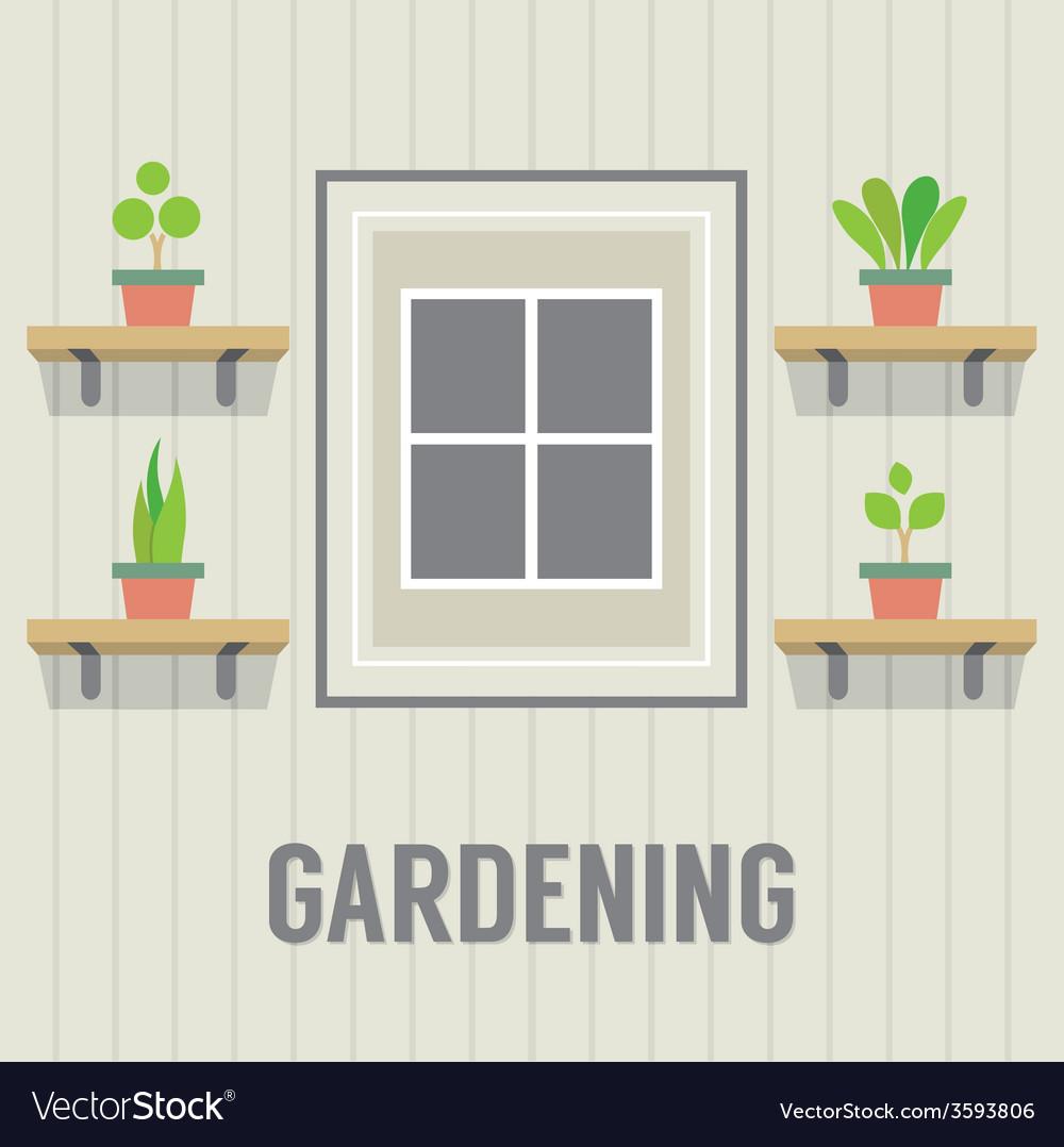 Pot plants beside window gardening concept vector | Price: 1 Credit (USD $1)