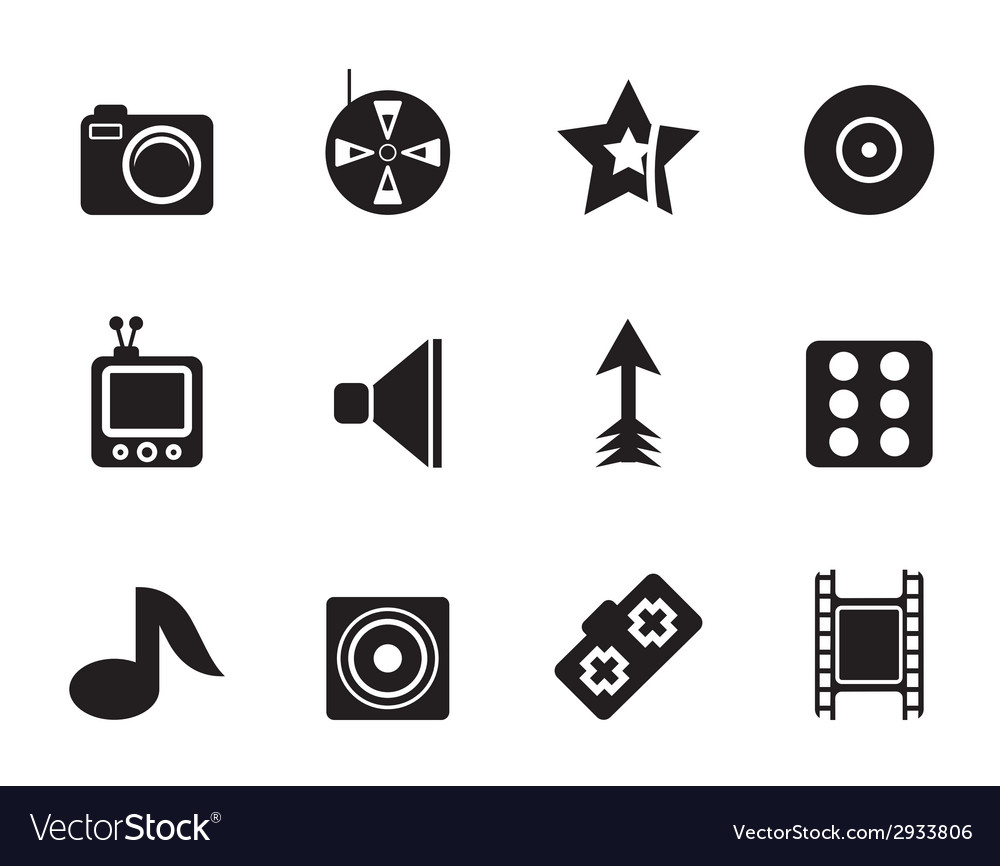 Silhouette entertainment icons vector | Price: 1 Credit (USD $1)