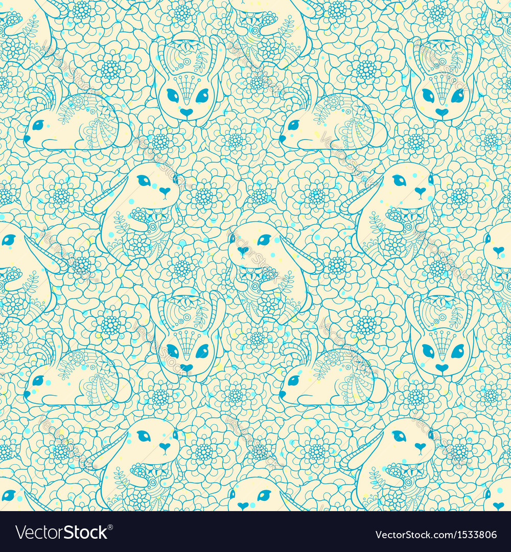 Vintage seamless pattern with bunnies and flowers vector | Price: 1 Credit (USD $1)
