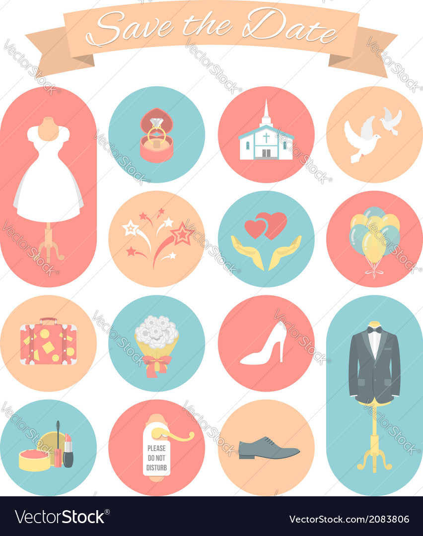 Wedding icons round set 2 vector | Price: 1 Credit (USD $1)