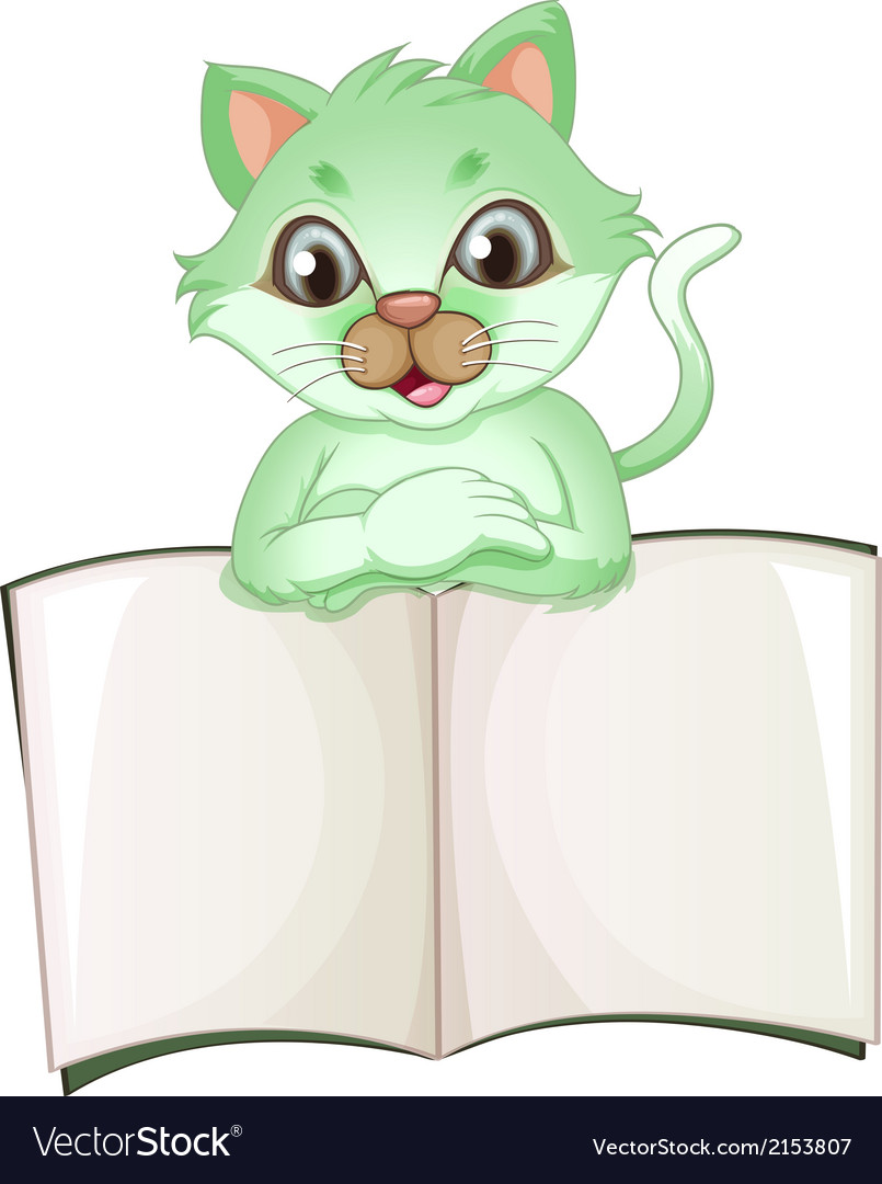 A cat holding an empty book vector | Price: 1 Credit (USD $1)