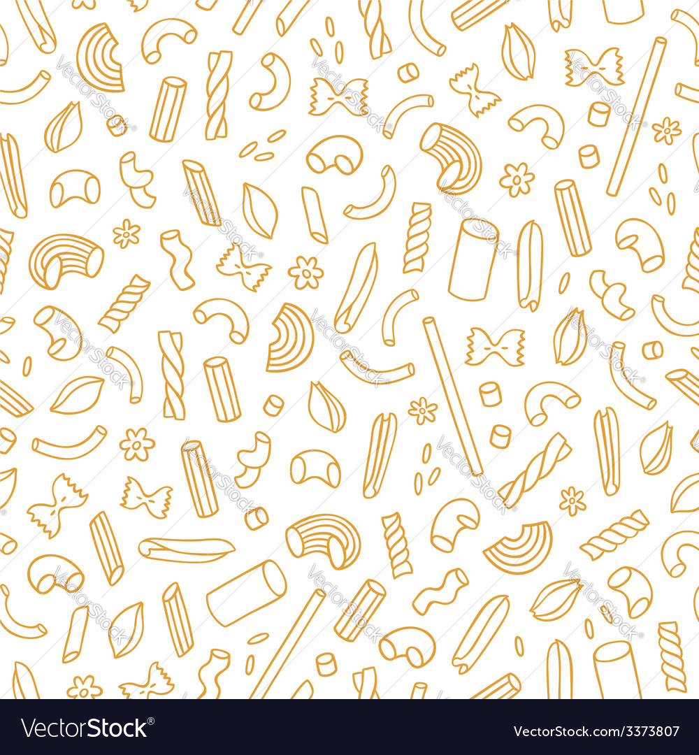 All types of outlined pasta seamless pattern vector | Price: 1 Credit (USD $1)