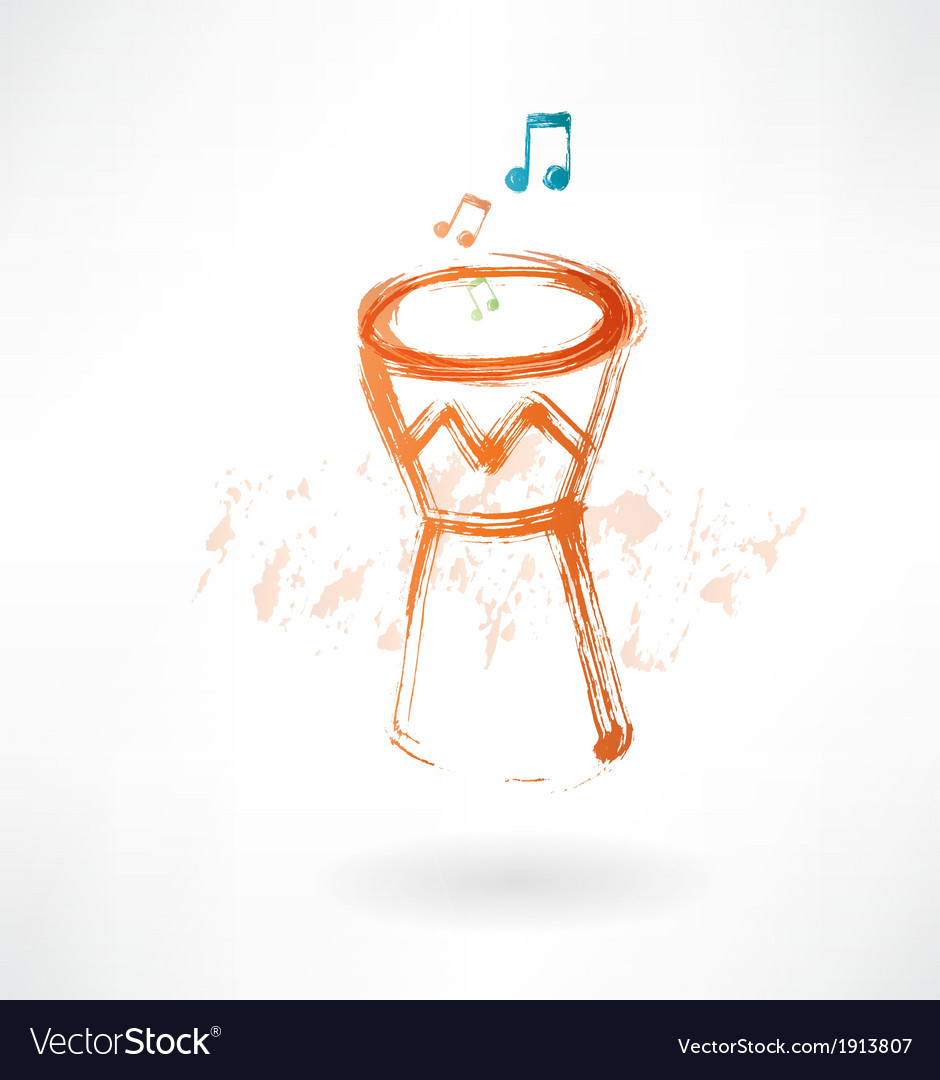 Bongo drum grunge icon vector | Price: 1 Credit (USD $1)