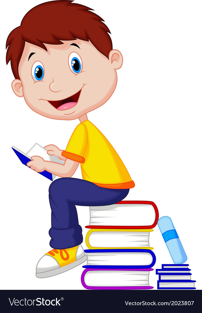 Boy cartoon reading book vector | Price: 1 Credit (USD $1)