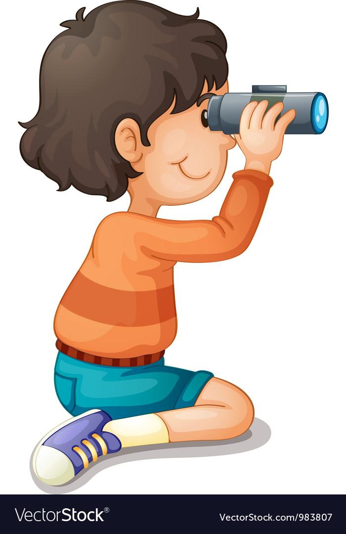 Boy using binoculars vector | Price: 3 Credit (USD $3)