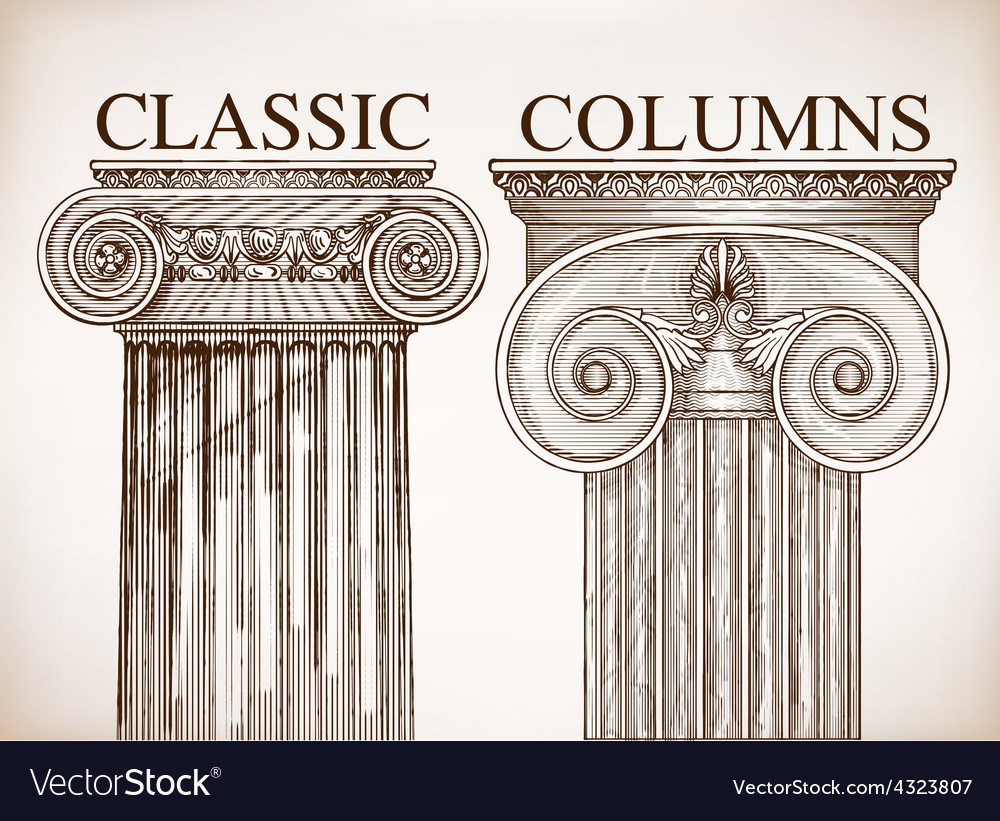 Classical column background set vector | Price: 1 Credit (USD $1)