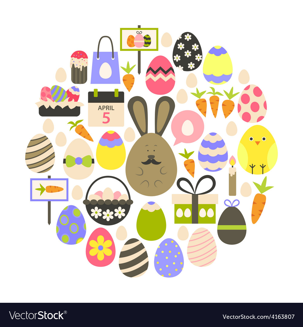 Easter holiday flat icons set over white vector | Price: 1 Credit (USD $1)
