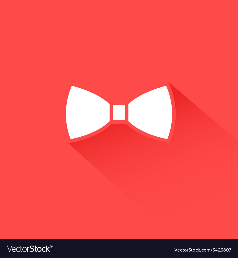Flat long shadow bow tie icon vector | Price: 1 Credit (USD $1)