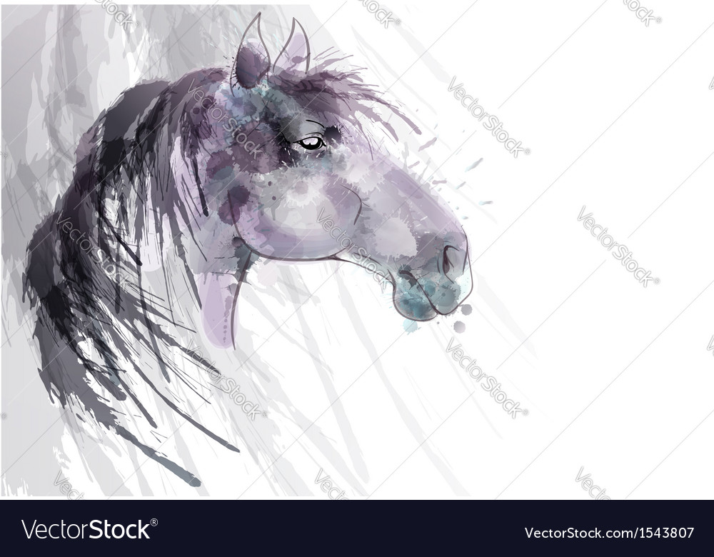 Horse head watercolor painting vector | Price: 1 Credit (USD $1)